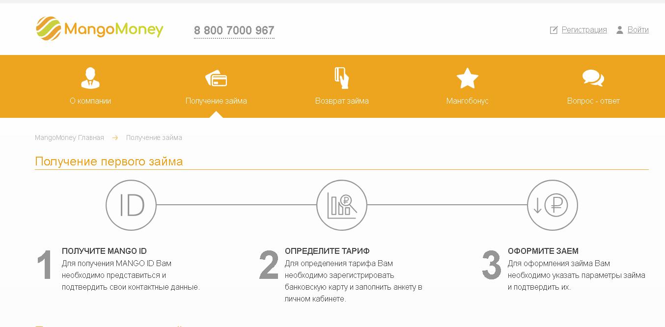 Мангомани - как зарегистрировать личный кабинет и взять первый займ