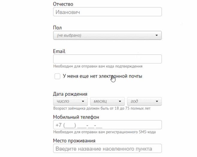 займ без электронной почты - инструкция заполнения заявки онлайн
