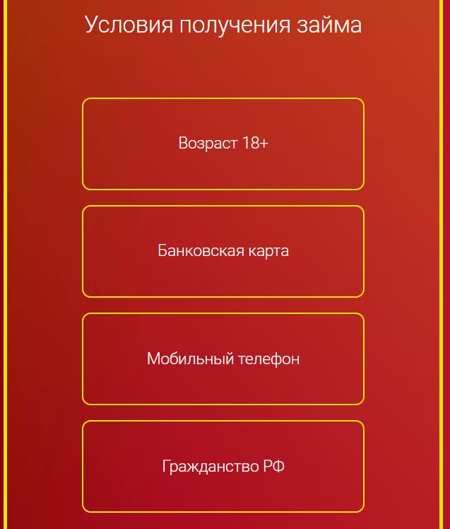 Полный список условий и требований на займ Monetka